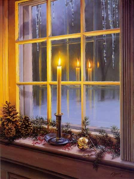 Days to christmas day lighting the windows candle