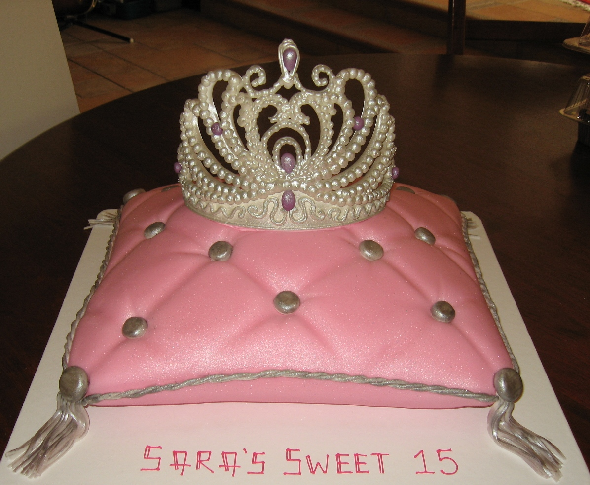 3D Pink Princess Cake. Pillow, crown, wand, slipper, and white