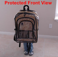 kid behind bulletproof backpack