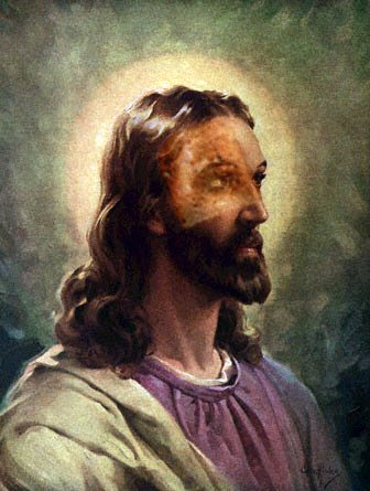picture of jesus with toast on his face