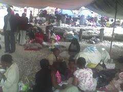 Disciples huddled on church property in Haiti