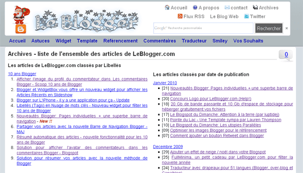 Exemple Page Blogger sans Widgets