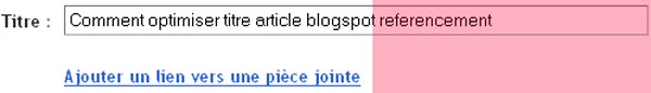 Optimiser titre Blogspot