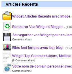 Widget Articles Rcents avec Image