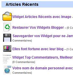 Widget Articles Récents avec Image