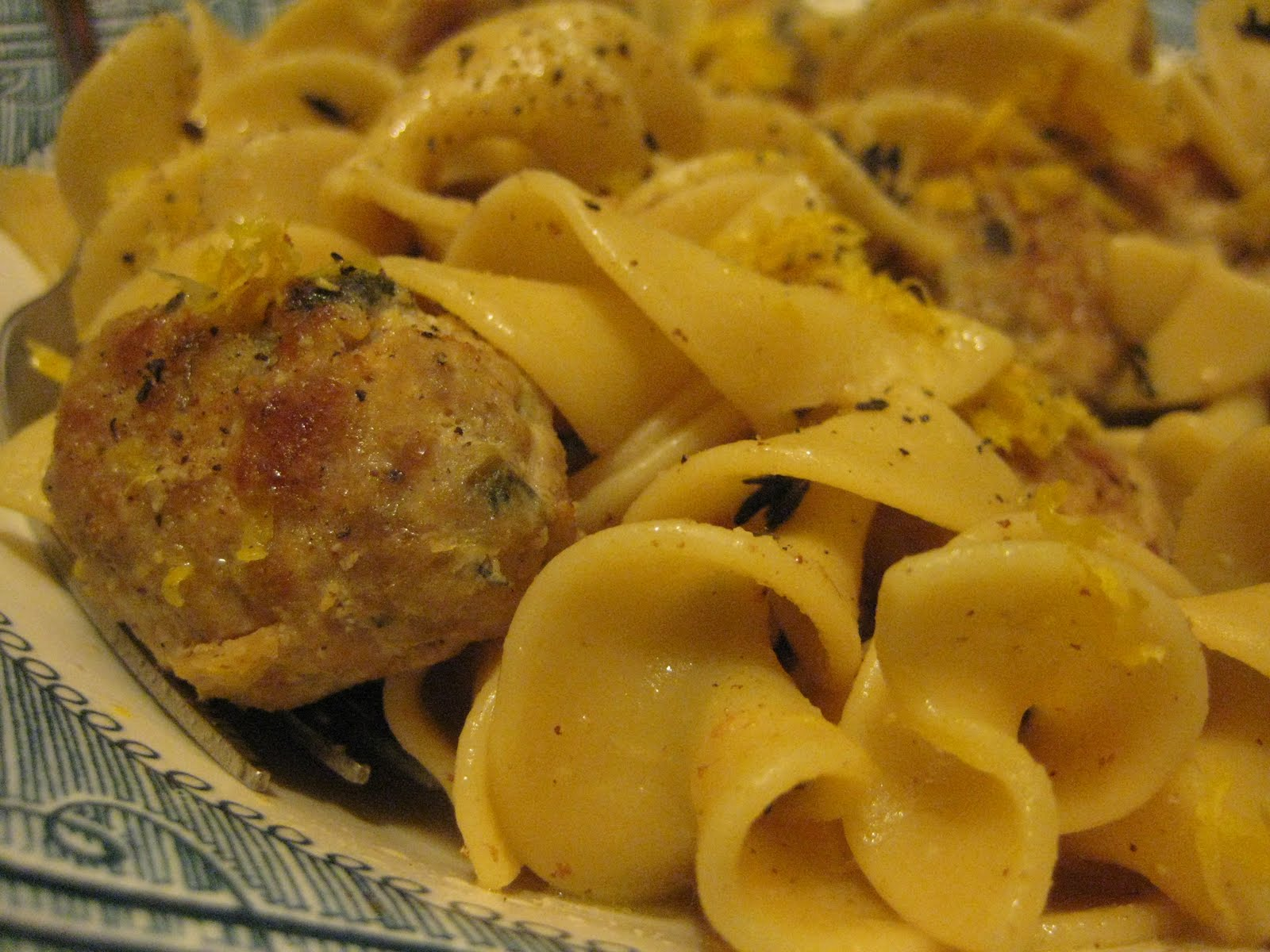 Bookcook: PORK MEATBALLS WITH NOODLES AND LEMON-THYME SAUCE