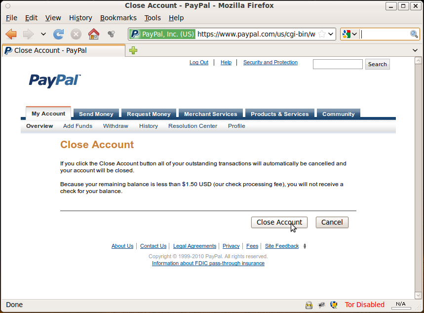 how to close my paypal account
