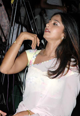 Anushka looking Cute wearing a White Saree
