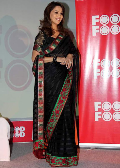 maduri dixit stunning in black saree