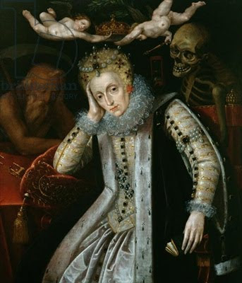 Queen Elizabeth I, with time and death waiting, looking over her shoulder. Circa 1620