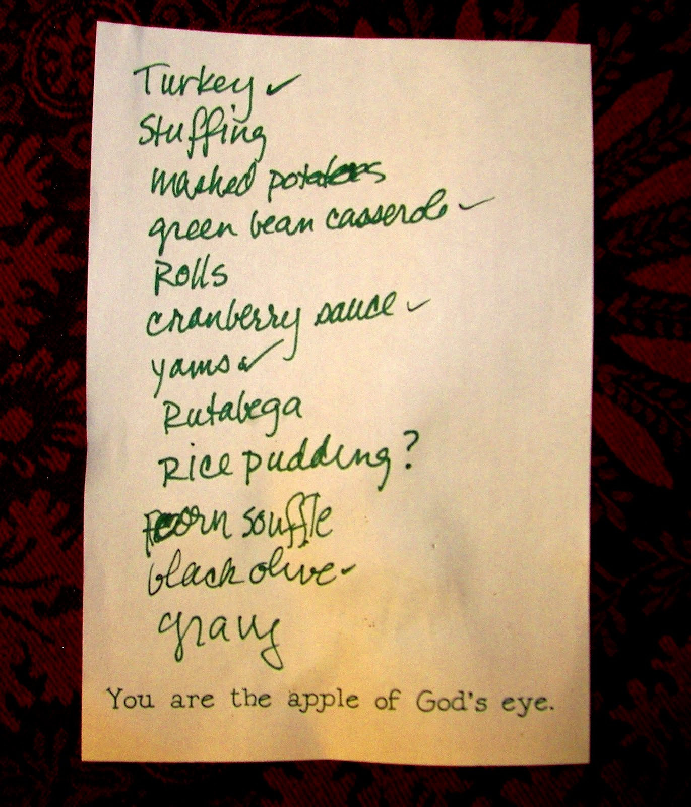 Historymike november 2009 for List of things for thanksgiving dinners
