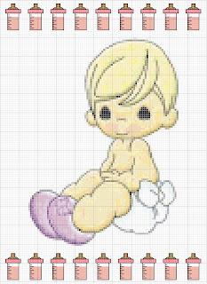 Agost03 Esquemas de Ponto Cruz com Bebés para crianças