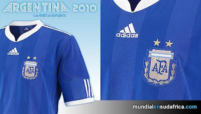 Camiseta Argentina Suplente Mundial Sudáfrica 2010 - Detalle
