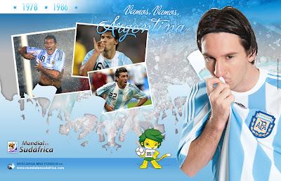 Descargar Fondos de Pantalla (Wallpapers) Mundial 2010 de Argentina y Lionel Messi