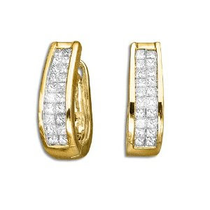 14K Yellow Gold 1 ct. Princess Cut Diamond Huggie Earrings