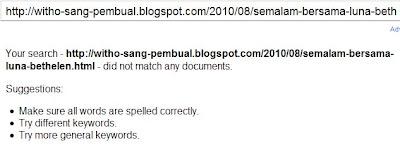 Posting blog hilang dari index Google
