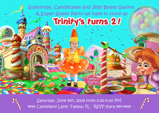 Candy Land Theme Invitations http://shutterbugsentiments.blogspot.com/2010/11/candyland-birthday-party-invitations.html