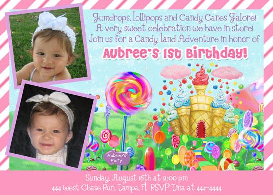 Shutterbug Sentiments Candyland Birthday Party Invitations