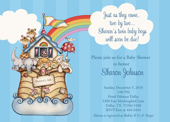Shutterbug Sentiments Noahs Ark Baby Shower Invitations