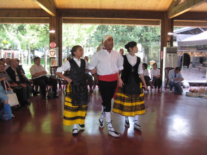 Dansaires del grup Coros y Danzas de Becerril de la Sierra lluïnt la seva dansa en terra catalana