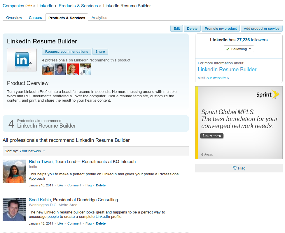 resume builder product page on linkedin