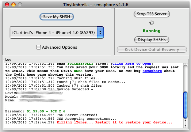 TinyUmbrella How to Unlock iPhone 4 on iOS 4.1 with Ultrasn0w