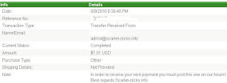 Pembayaran dari Scarlet clicks PTC