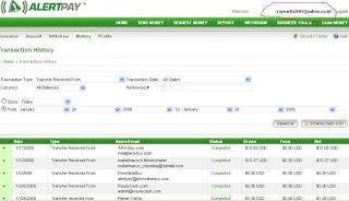 bukti pembayaran PTC via alertpay