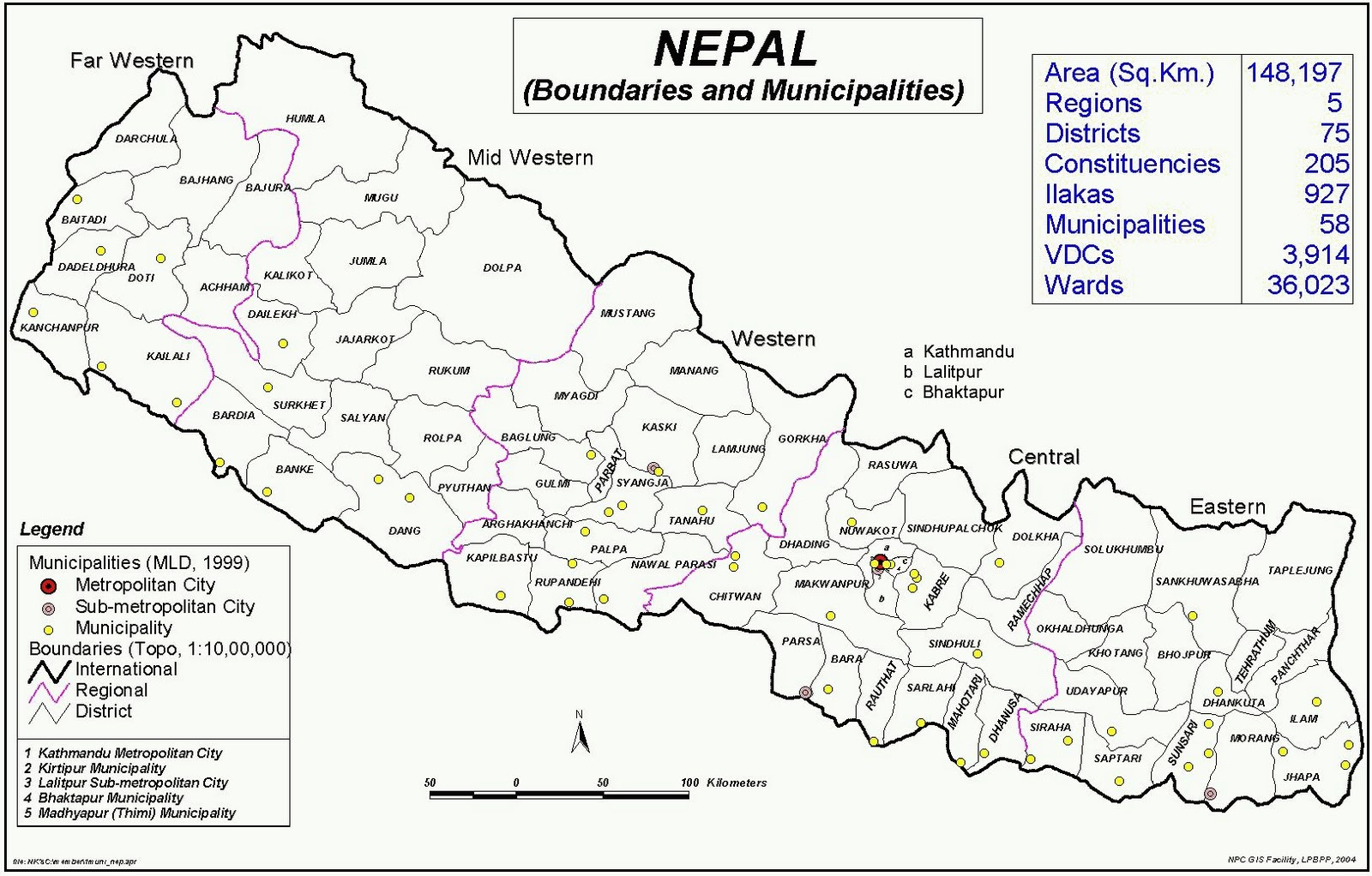 Map of Nepal with regional boundaries and demographics