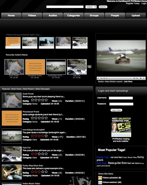 Free Themes Downloads and Reviews For All: PHPmotion Template ...