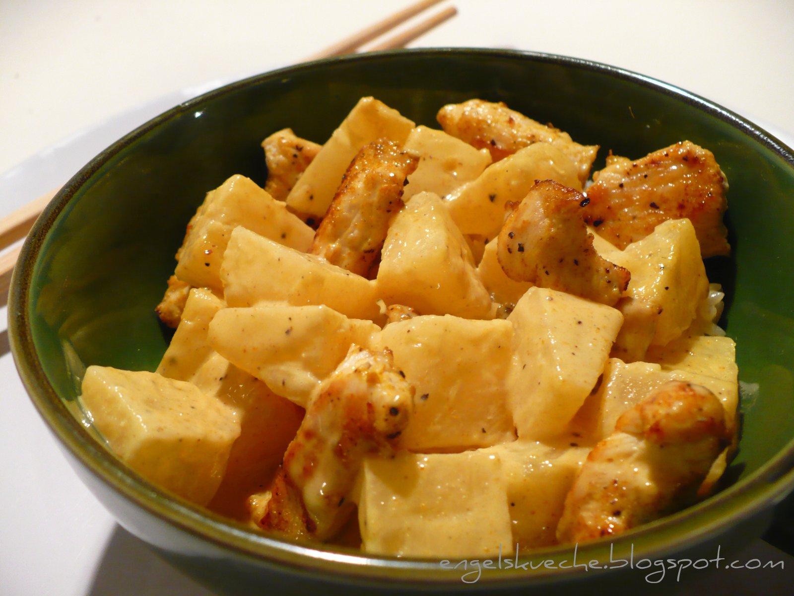 Essen aus Engelchens Küche: Curry-Hühnchen in Ananas-Curry-Soße mit Reis