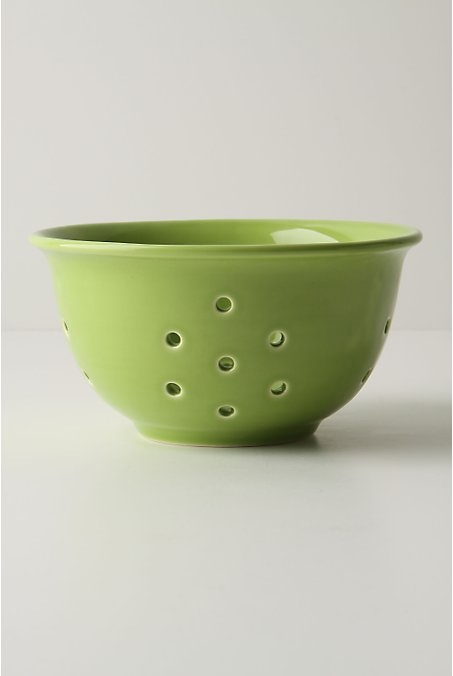 Bright green retro colander