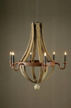 Vintage French White Oak Chandelier with Wooden Chain