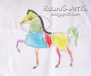 Детские Рисунки лошадка животные зверюшки трафарет психоделика карандаши