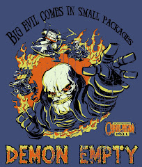 """BIG EVIL, LITTLE DEMON"" DEMON EMPTY VINTAGE DENIM blue TEE"