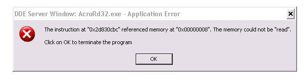 adobe pdf crashes when searching