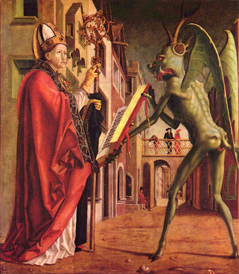 a saint in a papal hat shows the bible to a dragonish devil, who has an extra face on his ass.