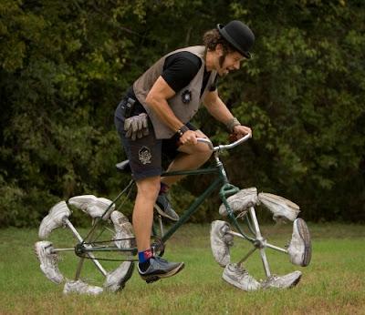 Todd Kundla rides his Shoe Bike