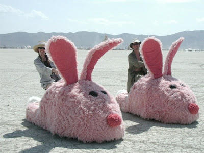 Burning Man Bunny Slippers