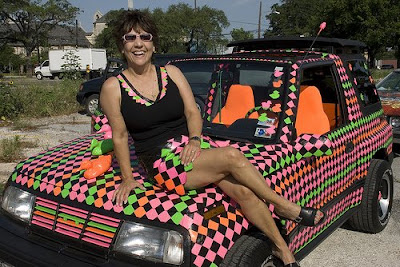 Duct Tape Lady on her Duct Art Car