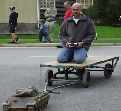 man pulled behind remote controlled tank