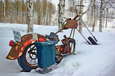 Rusty Mailbox Motocycle in the Snow