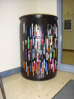 Fancy Shmancy Pen Recycling Barrel at Forestville Elementary School