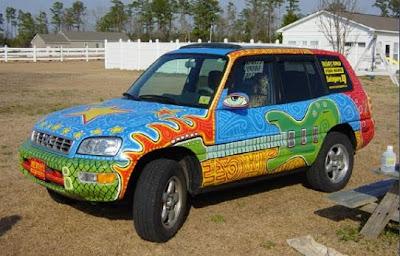 Cosmic Groove Lizard Art Car - Guitar View