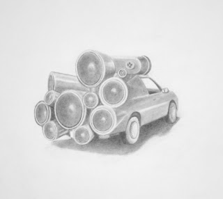 Dj Mobile Art Car Drawing by Eric Carlos Bertrand