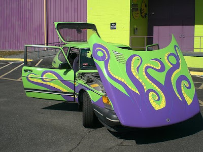 Octapus Saab Art Car Reaching Out in Rhode Island
