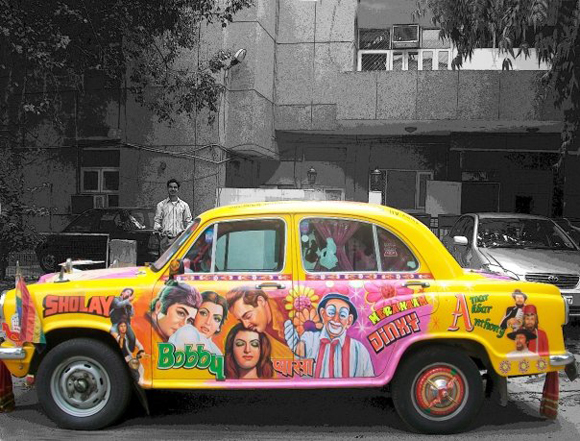 Basanti the Bollywood Amby - Bollywood Art Car Taxi Side