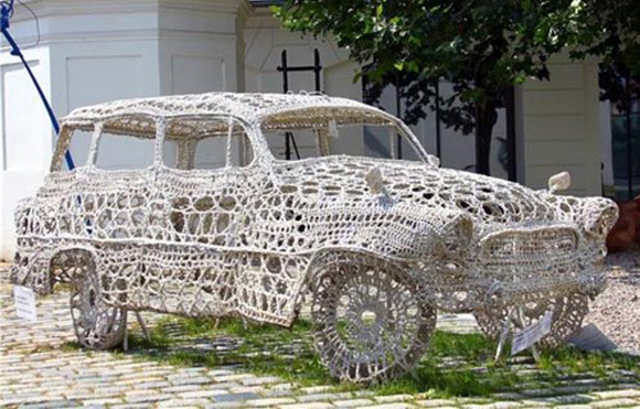 Crochet Doily Art Car