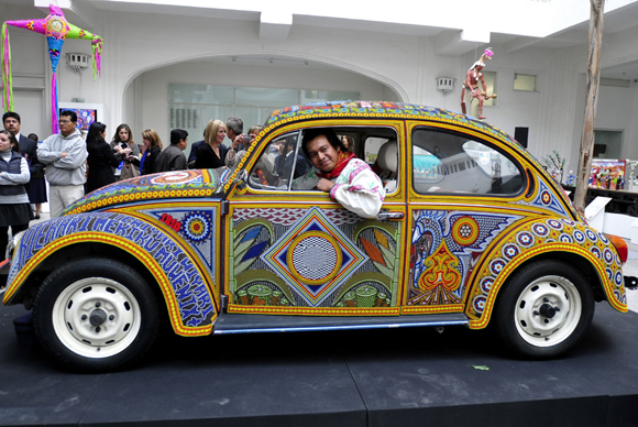 The Vochol VW Art Car Covered in 2000 Beads Side