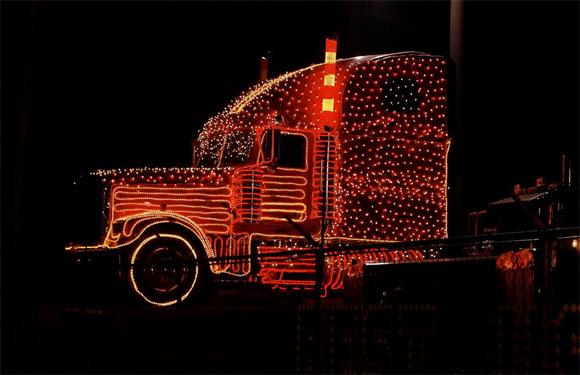 Christmas Semi Truck with Lights - Art Car